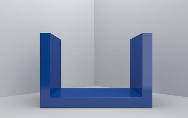Ensemble de groupe de forme géométrique abstraite, fond de studio gris, piédestal bleu rectangle, rendu 3d, scène avec des formes géométriques, scène minimaliste de mode, design simple et épuré