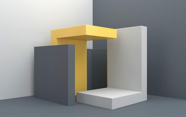 Ensemble de groupe de forme géométrique abstraite, fond de studio gris, piédestal gris rectangle, rendu 3d, scène avec des formes géométriques, scène minimaliste de mode, design simple et épuré
