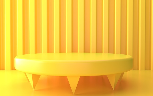 Ensemble de groupe de forme géométrique abstraite jaune, fond abstrait minimal, rendu 3d, scène avec des formes géométriques