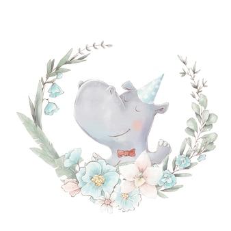 Ensemble d'hippopotame et de fleurs de dessin animé mignon. illustration à l'aquarelle.