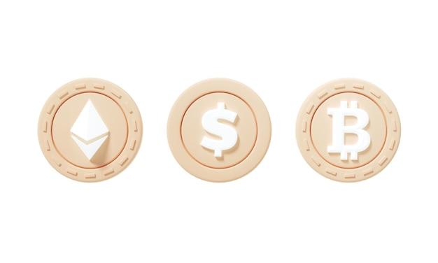 Ensemble d'icônes de pièces de monnaie crypto d'ethereum, dollar, bitcoin