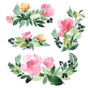 Ensemble d & # 39; illustration aquarelle dessinée à la main de bouquets de branches et de fleurs vertes abstraites