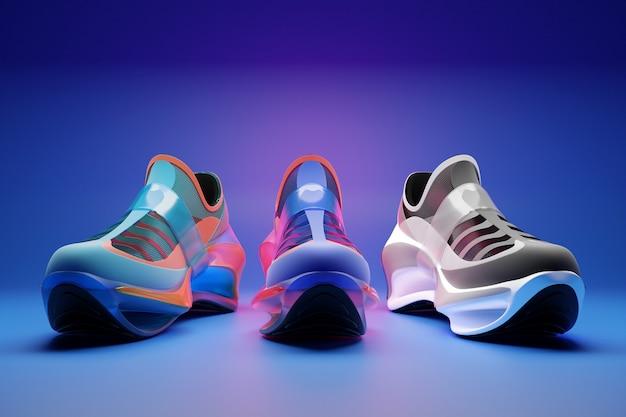 Ensemble d'illustrations 3d de trois baskets futuristes différentes baskets colorées avec semelles en mousse
