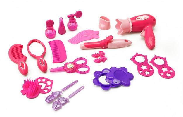 Ensemble de jouet pour enfants pour kit de coiffure de jeu pour filles isolé sur blanc