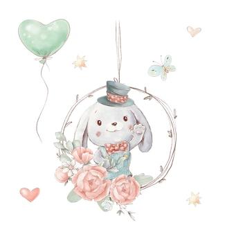 Ensemble de lapin de dessin animé mignon dans un chapeau avec des ballons.
