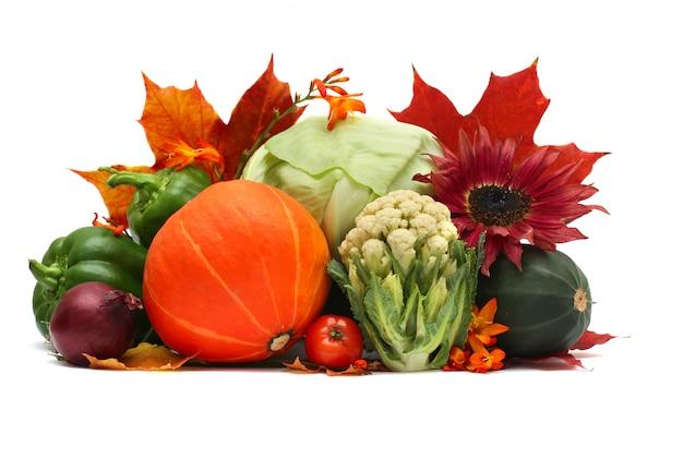 Ensemble de légumes d'automne sur blanc