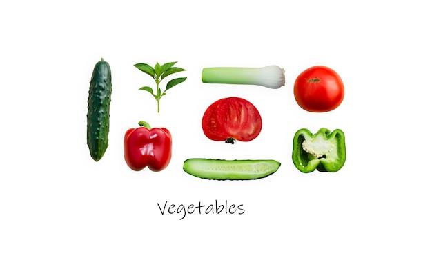 Ensemble de légumes sur fond blanc tomates poivrons herbes concombres basilic
