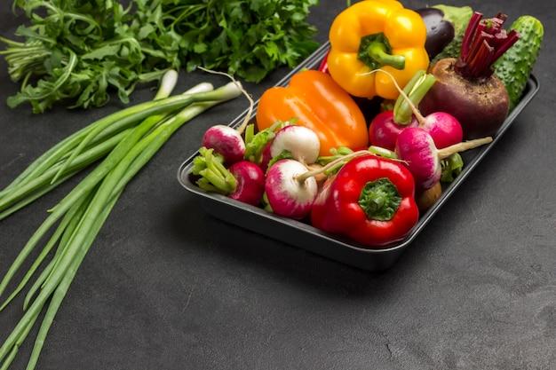 Ensemble de légumes multicolores, roquette et oignons verts