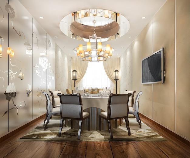 Ensemble à manger dans la salle à manger de luxe moderne