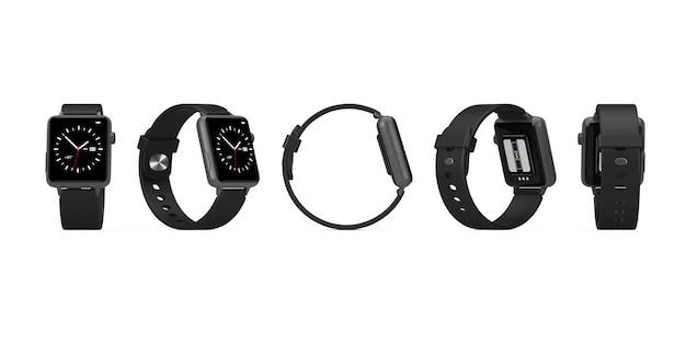 Ensemble de maquette de montre intelligente moderne noire avec bracelet en position différente sur fond blanc. rendu 3d