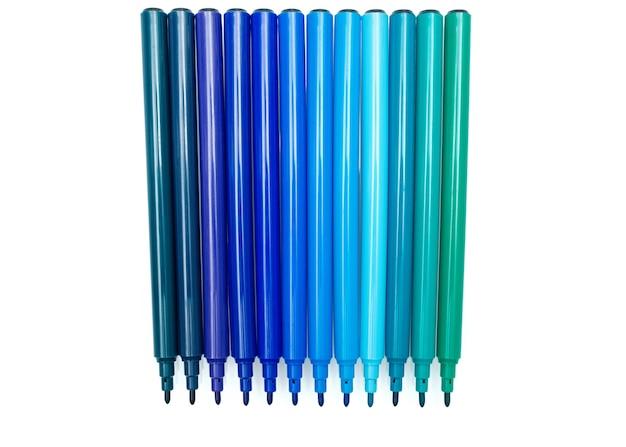 Ensemble de marqueurs de couleur bleue