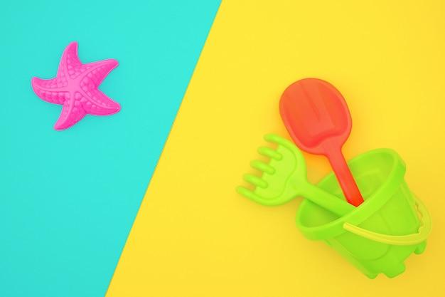Ensemble multicolore de jouets pour enfants pour jeux d'été dans un bac à sable ou sur une plage de sable