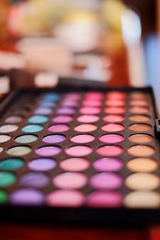Un ensemble multicolore d'ombres et de rougir. cosmétiques pour les filles
