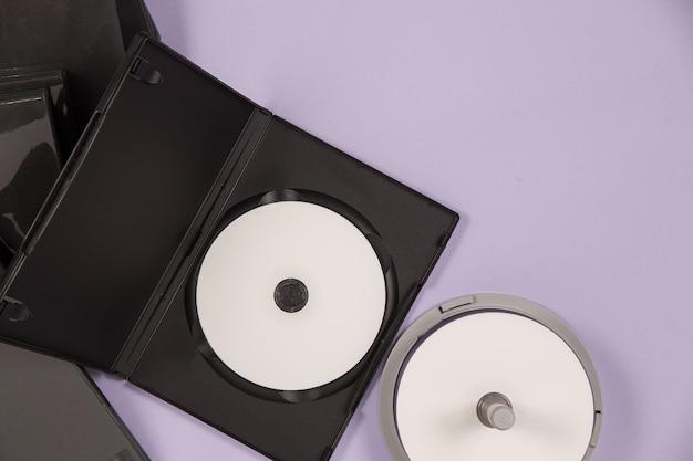 Ensemble de musique dvd avec vue de dessus