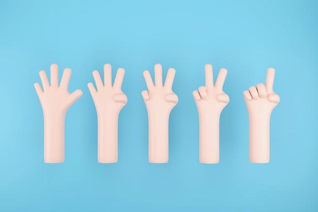 Ensemble de numéro 1 2 3 4 5 avec signe de la main sur fond de ciel bleu, illustration 3d