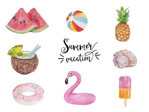 Ensemble d'objets de vacances d'été mignons nourriture boissons fruits flamants roses et collection de coquillages isolés w ...