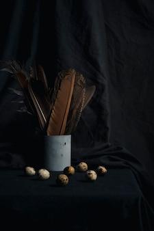Ensemble d'oeufs de caille près de plumes en boîte