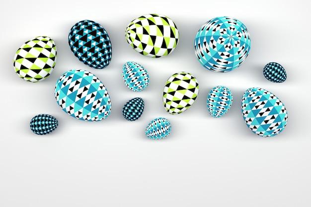 Ensemble d'oeufs de pâques avec des motifs géométriques sur blanc