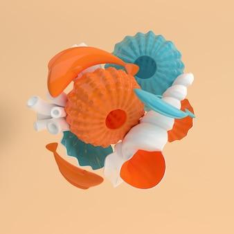 Ensemble d'oursins, coquillages, coraux, poissons et bulles