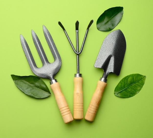 Ensemble d'outils de jardin avec poignées en bois sur un mur végétal, vue du dessus