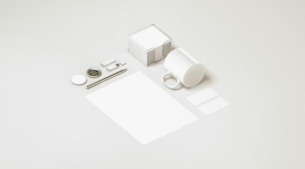 Ensemble de papeterie de bureau blanc blanc isolé