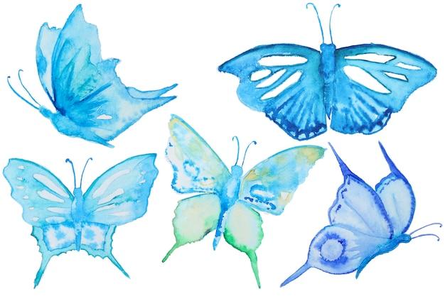 Ensemble de papillons bleu aquarelle isolé sur blanc