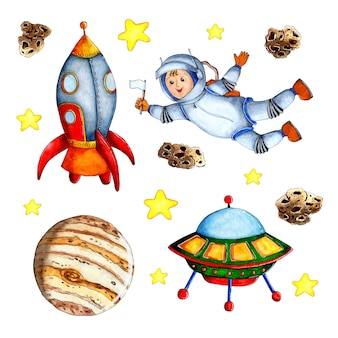 Ensemble de peinture à l'aquarelle de fond dessiné à la main de cosmos pour les enfants étoiles de planètes de fusées de dessin animé
