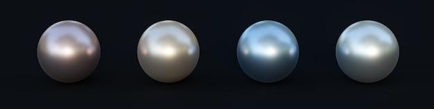 Ensemble de perles de différentes couleurs isolées sur fond noir. illustration 3d