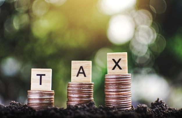 Ensemble de pièces disposées verticalement sur une planche de bois avec un mot de l'alphabet et un fond de bokeh, concept d'économie pour payer l'impôt, mise au point sélective et douce.