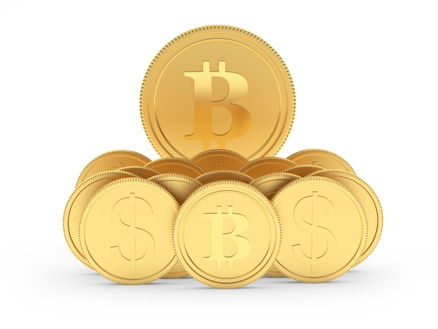 Ensemble de pièces de monnaie dollar et bitcoin or