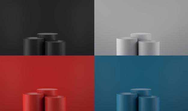 Un ensemble de piédestaux cubiques de coin rond rouge bleu noir minimalisme forme 3d abstraite