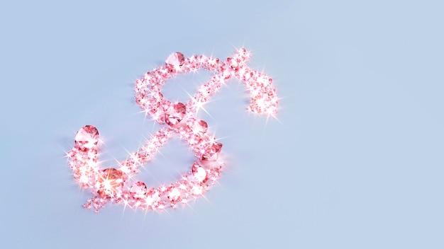 Ensemble de pierres précieuses roses dispersées à la surface sous la forme d'un signe dollar.