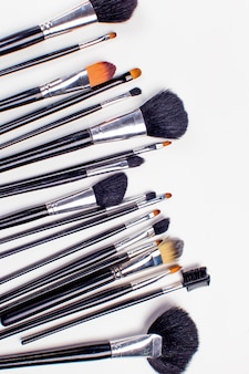 Ensemble de pinceau cosmétique, vue grand angle, mode et beauté, ensemble d'outils