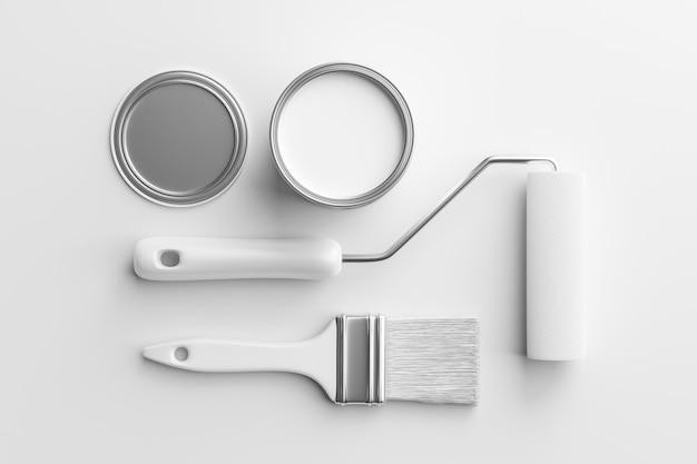 Ensemble de pinceaux blancs ou rouleau de peinture et peintre peuvent collection d'outils de vue de dessus isolés sur fond de papier propre avec un design de rénovation de maison intérieure. rendu 3d.