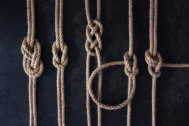 Ensemble plat de cinq nœuds nautiques attachés sur des cordes naturelles qui sont parallèles sur un fond sombre