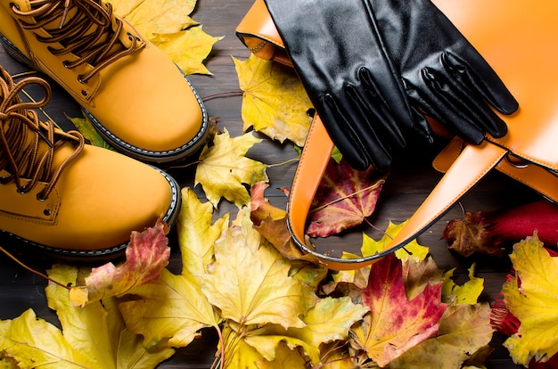 Ensemble plat de vêtements féminins dans le style de l'automne