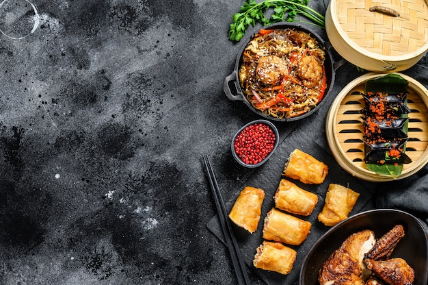 Ensemble de plats de cuisine chinoise