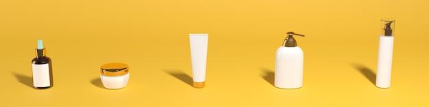 Ensemble de pots cosmétiques sur fond jaune, bannière, maquette. photo de haute qualité