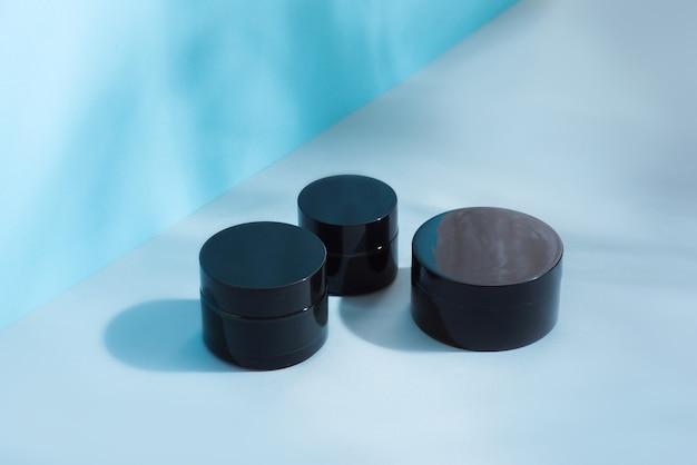 Ensemble de pots cosmétiques pour crème de couleur noire, différentes tailles