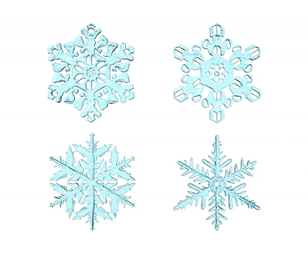 Ensemble de rendu 3d de flocons de neige réalistes isolés sur blanc