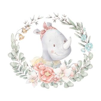 Ensemble de rhinocéros de dessin animé mignon dans un cadre de fleurs. illustration à l'aquarelle