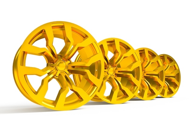 Ensemble de roues d'or de voiture isolated over white - 3d render