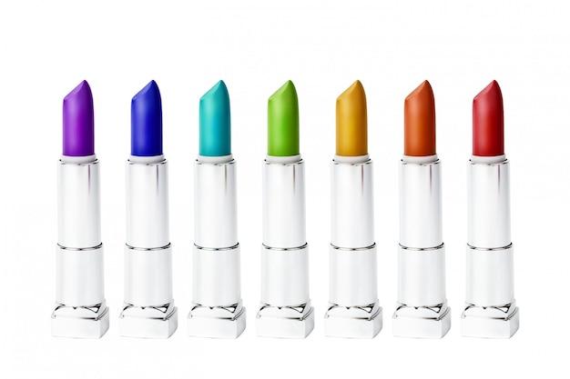 Ensemble de rouge à lèvres multicolore arc-en-ciel