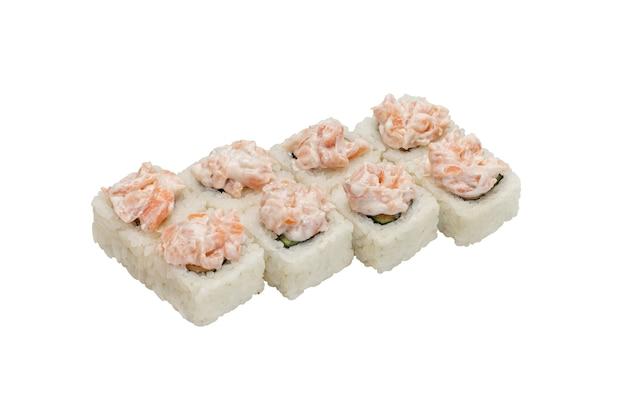 Ensemble de rouleaux de sushi avec fromage à la crème de fruits de mer et crevettes sur le dessus isolé sur fond blanc