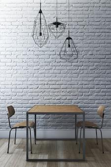 Ensemble de salle à manger avec mur de briques et lustre moderne. rendu 3d