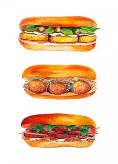 Ensemble sandwich aquarelle isolé sur fond blanc.