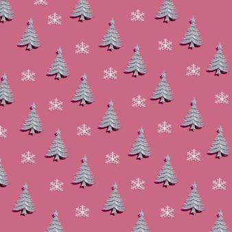 Ensemble de sapins décoratifs et de flocons de neige