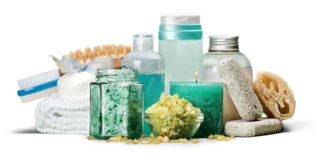 Ensemble spa : bouteilles d'aromathérapie avec gommage