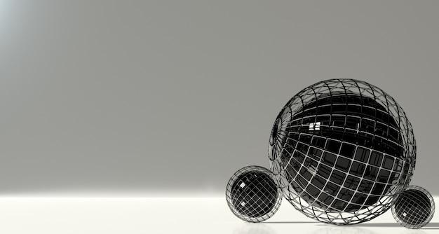 Ensemble de sphères abstraites sur fond gris. rendu 3d.