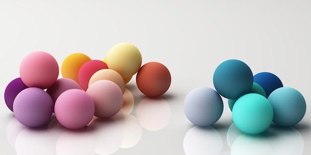 Ensemble de sphères réalistes colorées avec texture de tissu sur rendu 3d blanc